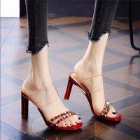 Sandals Women's Slippers Sexy Open-toe High Heels Rivet Decoration Stiletto Women Party Shoes Ladies