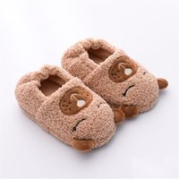 Slipper Toddler Boys Slippers Cartoon Bear Plush Warm Shoe Little Kids Loafers Winter House Shoes Girls Soft Rubber Sole Home Footwear