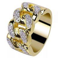 Hop Strass Strass Iced Out Bling Bling Cuban Collegamento anello anello in oro pieno di titanio anelli in acciaio inox per uomo gioielli cluster