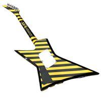 Rare Michael Sweet Flying V Stryper Black Yellow Stripe Electric Guitar Floyd Rose Tremolo Bridge, Whammy Bar, China EMG Pickup, Chrome Hardware, Triangle Pearl Inlay