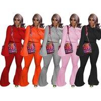 MODX 2021 Outono New Womens Color Sólido Com Capuz Trompete Sleever Sweater + Trumpet Calças Casuais Sports Sports Suit Thei