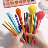 12 pcs Candy Color 8 colors Makeup Brush Professional Powder Basic Eye Shadow Make up Brushes Set Blush