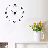 Wall Clock Acrylic 3D DIY Decorative Kitchen Clocks Mirror Stickers Home Decor Black Sticker