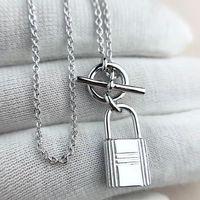 S925 Silver Padlock Подвесное ожерелье с OL CLAP для женщин Свадебные украшения подарок PS3148