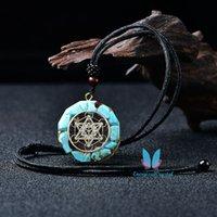 Azul Howlite Orgonita Collar Colgante Cráneamiento Curación Ronda 7 Símbolo de Chakra