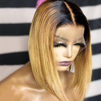 Lace Wigs Ombre Honey Blonde Straight Remy Brazilian 13×4Lace Front Wig Human Hair Preplucked With Baby For Black Women Short Bob