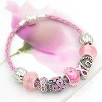 Nouvelle arrivée Bracelet de cancer du sein ruban rose pour femmes cadeaux en gros bracelets interchangeables de bricolage