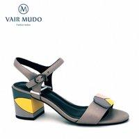 Vair mudo mode Sandales Femmes Sandales véritables Talon épais Chaussure de cheville Strap Sprape Spring Summer Shoes Couture Couleur Couleur Couleur Dame LX29 T6JC #