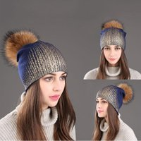 Beanie Skull Caps Gilded Colors Cashmere Beanie With Real Raccoon Dog Fur Pom Knit Hat For Women Winter Cap Snow Ski