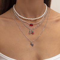 Pendant Necklaces 5Pcs Set Fruit Pearl For Women Girls Boho Bohemian Trendy Cherry Grape Necklace Fashion Jewelry Gifts