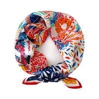 53X 53CM Square Silk Scarf Women Fashion Print Small Neck Scarfs Office Lady Hair Band Hand Kerchief Female