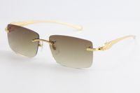 Sun metal lazer série pantera óculos de sol sem aro 18k ouro grande quadrado 3524012 óculos simples quadro piloto clássico macho óculos selli fhdo