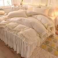 Bedding Sets Princess Style Pure Color Washed Cotton Set, Quilt Cover, Bed Skirt And Pillowcase, Girl Bedroom Decoration