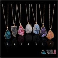 Punto de curación de cuarzo de cristal Chakra Bead Piedra de piedras preciosas Original Natural Stonestyle Colgante Collares Joyas SO89S Q5NW4