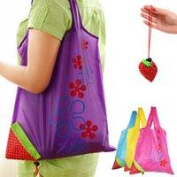 Bolsas de compras linda fresa bolsa de asas ecológica amigable cuerda bolso plegable restable bolsas de tela comprador nylon plegable textil