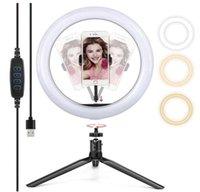 10 polegadas LED Anel Light com tripé esticável Stand Selfie vara, lâmpada de mesa dimmível de 10 polegadas para selfie, maquiagem, transmissão ao vivo
