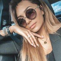 Occhiali da sole Occhiali da sole rotondi per le donne Chic Nessuna lente di lente della catena Lega delle donne Occhiali da sole 2020 Nuovi occhiali rotondi neri retrò vintage