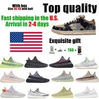 Estoque em nós Correndo Sapatos Kanye Qualidade 2021 Mais Novos Mens Mulheres Running Shoes Cinder Zebra Cauda Luz Reflexiva Mulheres Esporte 36-48 com caixa meio tamanho