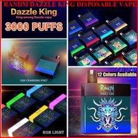 Рэндм ослепительный король одноразовые сигареты вершины 3000 слойки электронные сигареты 8,0 мл свечения стручка в темном LGB свет 12 цветов бар Pro выключатель