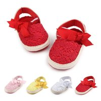 First Walkers Baby Girl Born Shoes Spring Summer Sweet Very Light Mary Jane Big Bow Knitted Dance Ballerina Dress Pram Crib Shoe