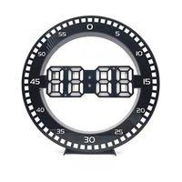 Wall Clocks Silent 3D Digital Circular Luminous LED Clock Alarm With Calendar,Temperature For Home Decoration