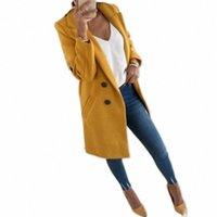 النساء أبلى الشتاء معطف الصوف طويل الأكمام بدوره أسفل طوق يمزج سترة أنيقة سيدة الصوف معاطف 3xl زائد الحجم pl782g 42im #
