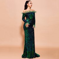 Sexy Off Shoulder Sequin Dress Runway for Women Feather Solid Color Evening Party Long Sleeve Maxi Vestdios