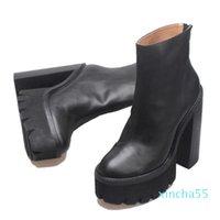 Kadın Hakiki Deri Jeffrey Mulder Patik Siyah Moda Catwalk Campbell Mulder Platformu Topuk Çizmeler Ayakkabı