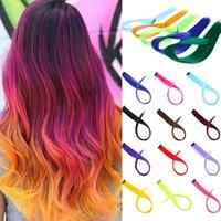 Lupu 22 длинные прямые радуги подсветка цветные синтетические волосы наращивания волос зажим в цельном ombre розовый фиолетовый зеленый желтый