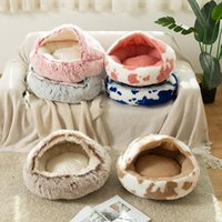 Cat Beds & Furniture Dog Bed Cat's Nest Deep Sleep Half Pack Semi-closed Open Mat Long Plush Round Pet Sofa