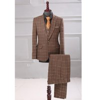 British Plaid Men's 3 Piece Suit Sets 2021 Spring Formal Party Prom Wedding Men Jacket+Vest+Pant Boutique Business Suits & Blazers
