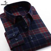 남성 캐주얼 셔츠 Shan Bao 2021 가을 겨울 100 % 코 튼 두꺼운 격자 무늬 셔츠 비즈니스 클래식 느슨한 긴 소매 정리 판매