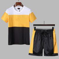Casual Suit Erkek Eşofman Moda Yaz Sportwear Ekip Boyun Kısa Kollu T-shirt + Şort 2 Renk Seçeneği Yüksek Kalite M-XXXL