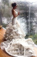 2021 Real Pics Mermaid Wedding Gown Sleeveless Sweetheart Wi...