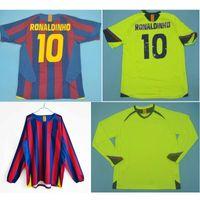 탑 05 06 Ronaldinho 레트로 유니폼 Xavi 클래식 빈티지 2005 2006 Messi 축구 유니폼 Larsson 축구 셔츠 Puyol Maillot 드 발