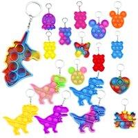 Empurre Bubble Sensory Keychain autismo Squishy Stress Center Brinquedo para Adulto Kids Relief Engraçado Fidget Brinquedos