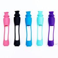 Fleck mehrfarbige Glas Zigarettenhalter Filter Tabakpfeife + FDA Silikonabdeckung Rauchen Set owd6396