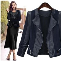 Women's Leather & Faux Autumn And Winter Fashion Warm Coat With Long Sleeves Thin Black Jacket Plus Size Clothing XL -5xl