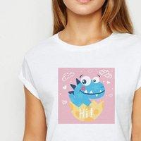 Dinossauro das mulheres de oversize camisetas Dinossauro com shell quebrado Adulto Primavera Camisa de verão Harajuku Bonito Printing Pescoço