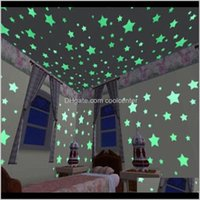 Décor & Garden Drop Delivery 2021 50Pcs 3D Stars Glow In The Dark Stickers Luminous Fluorescent Pvc Wall Art Decals For Kids Bedroom Ceiling