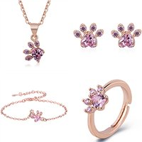 Rings Yihua platform Rose Gold Plated cat claw heart shaped footprint Necklace Earrings Bracelet Ring Set