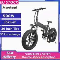 EU Stock Mankeel 500W 10AH 20 Inch Fat Tires Folding Electric Mountain Bike Bicycle 7 Speed Booster Bike Smart 2 Wheels Ebike MK011
