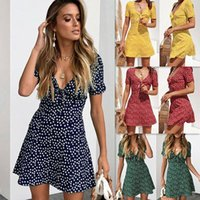 New Women Summer Casual Short Sleeve Floral Boho Dress Party Evening Beach V neck Dress Fashion Sexy Mini Dresses