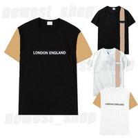 2021 Verão Mens Designer Luxo Tshirt Mulheres Camiseta Londres Inglaterra Clássico Pladi Grade Cópia Listrada Casual Tee Tops