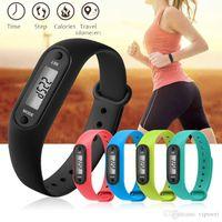Walking fitness braccialetti orologio da polso sportivo tracker all'aperto astuto moda caramelle colore 12 colori gel di silice gel digitale fling pedometro wat