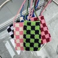 Evening Bags Fashion Hand Made Women Small Shoulder Bag Vintage Plaid Knitting Ladies Clutch Purse Handbags Female Pouch Mini Crossbody