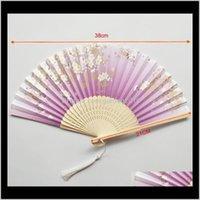 Evento festivo suministros hogar jardín entrega entrega 2021 estilo japonés peonía pintura china pintura imagen retro fans seda plegable sostenga ventilador