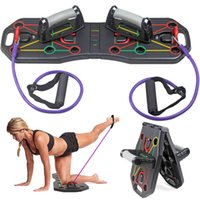 Multi-Function Foldable Push Up Board System with Resistance Tube Bands Pull Rope Bodybuilding Workout Push-up Stand Board X0524
