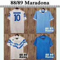 88 89 Maradona Crippa Herren Retro Fussball Jerseys Vittorio Weiß Gelb Napoli Claudio Kurzarm Fotball Hemden Erwachsene Uniformen
