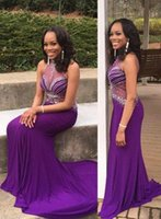 2021 Plus Size Arabic Aso Ebi Purple Mermaid Sexy Prom Dresses Beaded Sheer Neck Evening Formal Party Second Reception Gowns Dress ZJ204